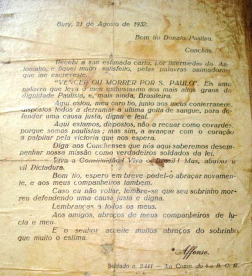 1932 -  Affonso de Simone Neto - Carta para o Tio - Reinaldo Elias