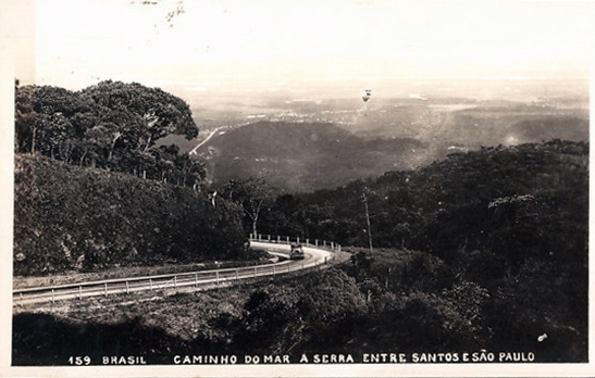 Trecho do Caminho do Mar em postal circulado em 1938, editor desconhecido.