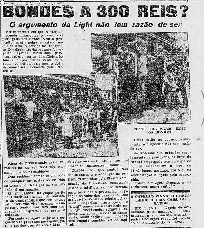 1928 - Aumento dos Bondes - Diário Nacional - BN